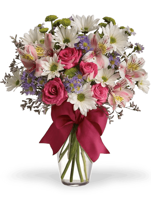 bouquet di margherite bianche, alstromeria e rose rosa