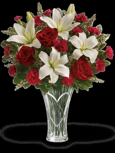 Bouquet di rose rosse, garofani rossi e lilium bianchi