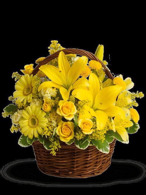 cesto lilium, rose e fiori gialli