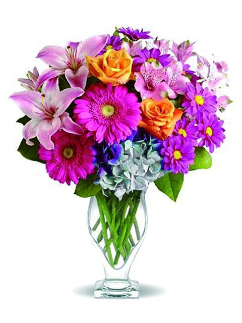 Bouquet Di Fiori.Bouquet Di Fiori Misti Multicolore Rosa Gialli E Verdi