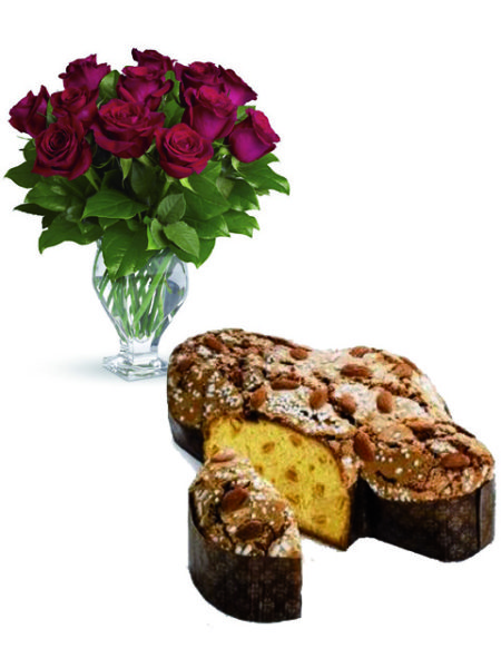 12 rose rosse con colomba