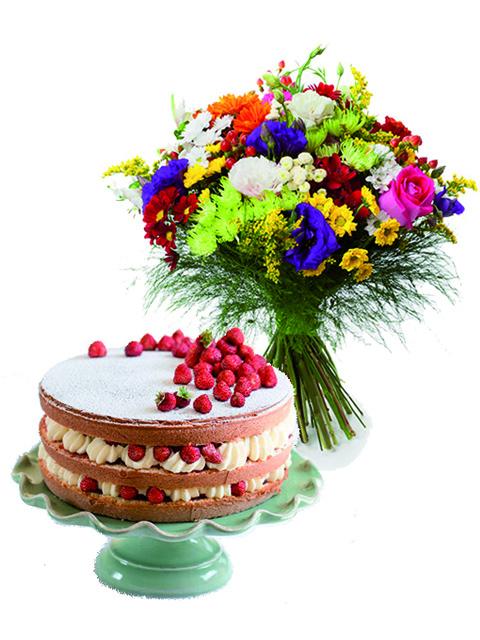 Bouquet di fiori misti con torta.