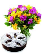 Bouquet fiori con torta cioccolato.