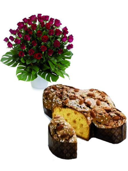 Colomba e 50 rose rosse.