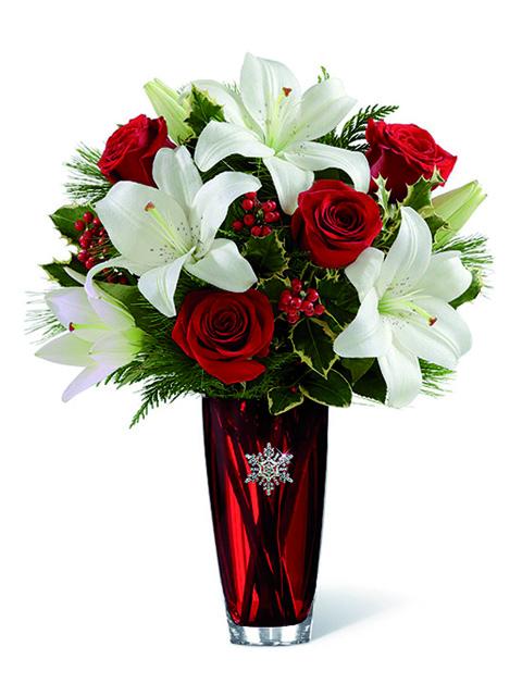 bouquet rose rosse e lilium bianchi
