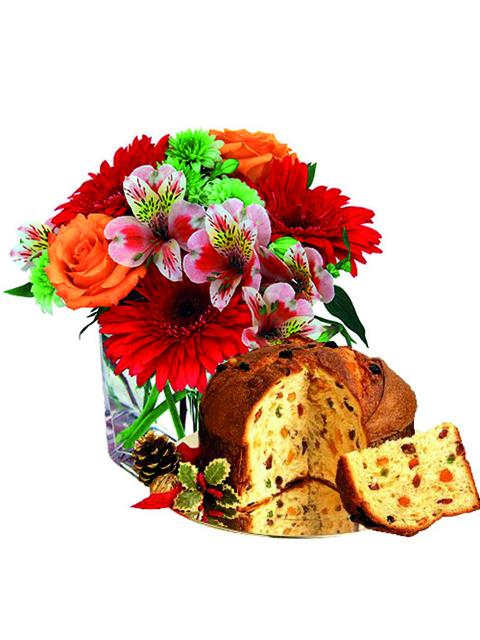 Bouquet di fiori misti con panettone