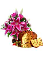 Bouquet di lilium e rose con panettone